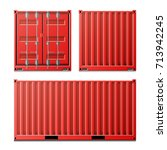 red cargo container vector.... | Shutterstock .eps vector #713942245