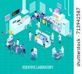 laboratory isometric... | Shutterstock .eps vector #713942587
