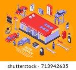 isometric auto service center... | Shutterstock .eps vector #713942635