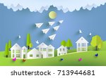 green scenery and beautiful... | Shutterstock .eps vector #713944681