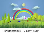 green scenery and beautiful... | Shutterstock .eps vector #713944684