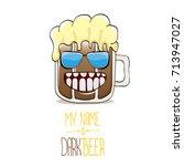 vector cartoon funky dark beer...   Shutterstock .eps vector #713947027