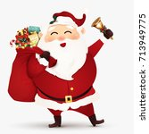funny santa claus with gift bag ... | Shutterstock .eps vector #713949775