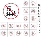 thin line roller skates... | Shutterstock .eps vector #713952859