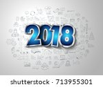 2018 new year infographic and... | Shutterstock . vector #713955301