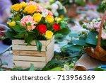 bouquet rose | Shutterstock . vector #713956369