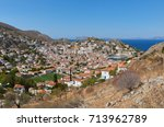 panoramic view of hydra island | Shutterstock . vector #713962789
