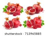 pomegranate isolated on white... | Shutterstock . vector #713965885