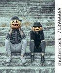Halloween Pumpkin Woman In Hat...