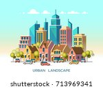 modern city view. traditional... | Shutterstock .eps vector #713969341