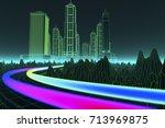 data streams in a digital world ... | Shutterstock . vector #713969875