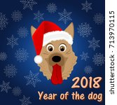 new year's card in the year of... | Shutterstock .eps vector #713970115