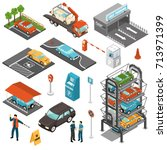 colored isometric car parking... | Shutterstock .eps vector #713971399