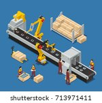electronics factory isometric... | Shutterstock .eps vector #713971411