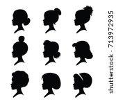 nine girl heads. different... | Shutterstock .eps vector #713972935