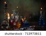 magic potion  ancient books and ... | Shutterstock . vector #713973811