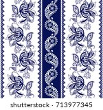 set of lace bohemian seamless... | Shutterstock .eps vector #713977345