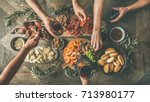 flat lay of friends hands... | Shutterstock . vector #713980177