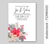 hibiscus poinsettia wedding... | Shutterstock .eps vector #713984101