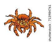 cartoon red gigantic spider.... | Shutterstock .eps vector #713984761