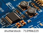 electronic circuit board close... | Shutterstock . vector #713986225