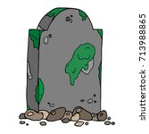 dirty gravestone with stones.... | Shutterstock .eps vector #713988865