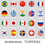 world flags set  round icons... | Shutterstock .eps vector #713992261