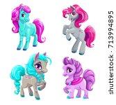 cute cartoon little horses set. ... | Shutterstock .eps vector #713994895
