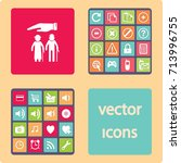flat icon old family. under the ... | Shutterstock .eps vector #713996755