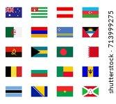 world flat flags icons set... | Shutterstock .eps vector #713999275