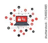 network vulnerability   virus ... | Shutterstock .eps vector #714002485