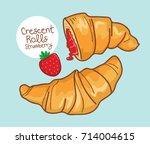 crescent rolls strawberry vector | Shutterstock .eps vector #714004615