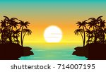 sunset in the ocean  palm coast ... | Shutterstock .eps vector #714007195