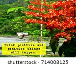 Small photo of Inspirational travel quote: Think positive so positive things will happen