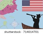 happy columbus day. discovery... | Shutterstock .eps vector #714014701