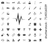 heart rate black icon on the... | Shutterstock .eps vector #714016039