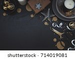 modern holiday scene with gold... | Shutterstock . vector #714019081