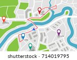 map with gps pointers and route ... | Shutterstock .eps vector #714019795