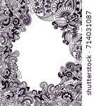 zentangle wedding invitation... | Shutterstock .eps vector #714031087