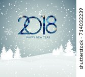 2018 new year gold glossy... | Shutterstock .eps vector #714032239