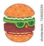 hamburger head vector... | Shutterstock .eps vector #714032254