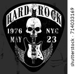 hard rock music poster | Shutterstock .eps vector #714033169