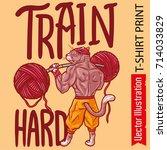cat bodybuilder pumps muscles... | Shutterstock .eps vector #714033829