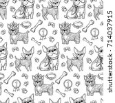 pattern with vector cute dogs.... | Shutterstock .eps vector #714037915