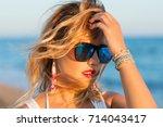 summer close up portrait of... | Shutterstock . vector #714043417