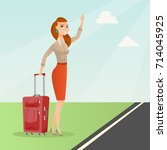 caucasian woman with suitcase... | Shutterstock .eps vector #714045925