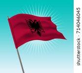 waving albania flag. vector... | Shutterstock .eps vector #714046045