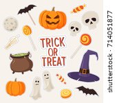 set of stickers on theme of... | Shutterstock .eps vector #714051877