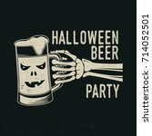halloween beer party. vector... | Shutterstock .eps vector #714052501
