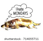 i hate mondays. sad dog is... | Shutterstock .eps vector #714055711